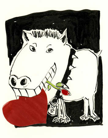 Dog with spiked collar holding rose and heart in mouth