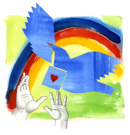 Hands releasing dove under rainbow
