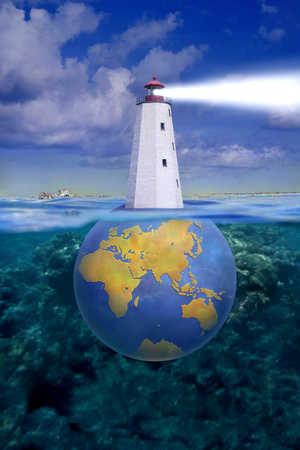 Lighthouse on globe under water