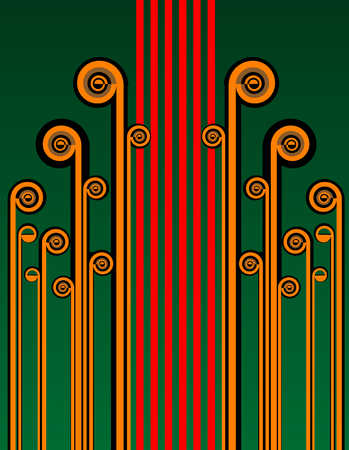 Abstract design of stripes and spirals