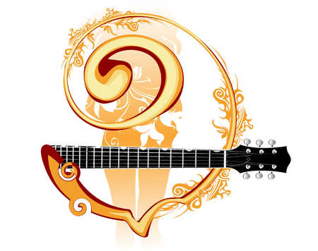 Abstract design with guitar neck and swirls