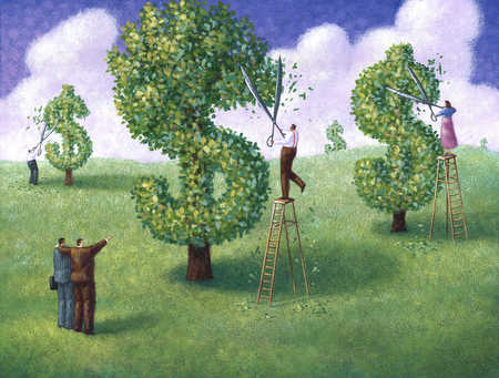 Businesspeople pruning trees to look like dollar signs