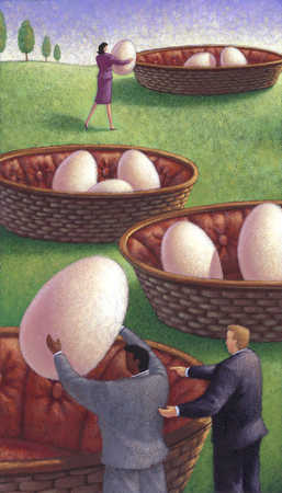 Businesspeople putting eggs in baskets