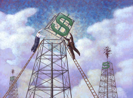 Businesspeople putting dollar sign on top of oil rig
