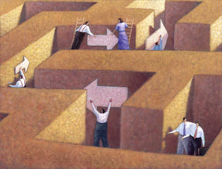 Businesspeople in maze