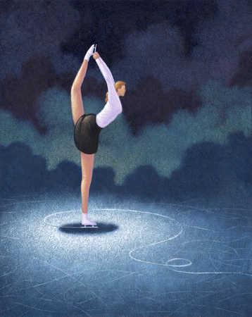 Female figure skater holding leg behind back