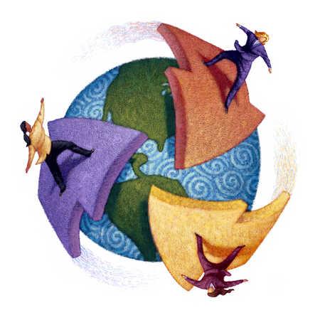 Businesspeople riding arrows around globe