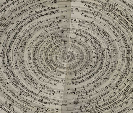 Swirled image of sheet music