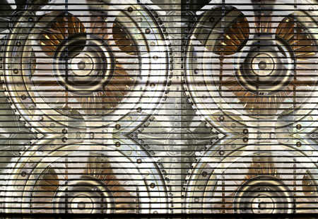 Digital composite of cog wheels and fans