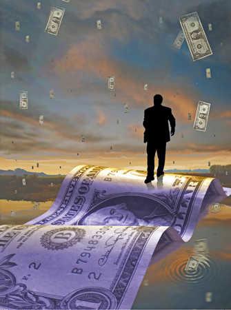Businessman walking over water on dollar bill