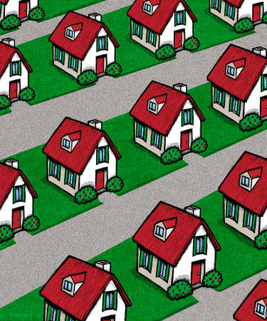 Rows of identical houses