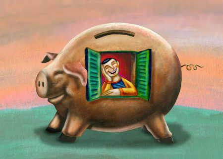 Man smiling inside piggy bank