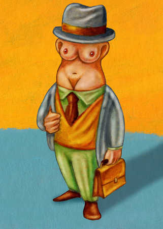 Businessman with nude female torso as head