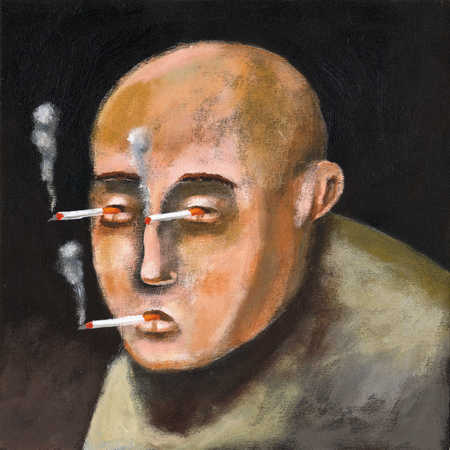 Man with cigarettes in mouth and eyes