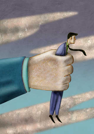 Hand holding businessman in air