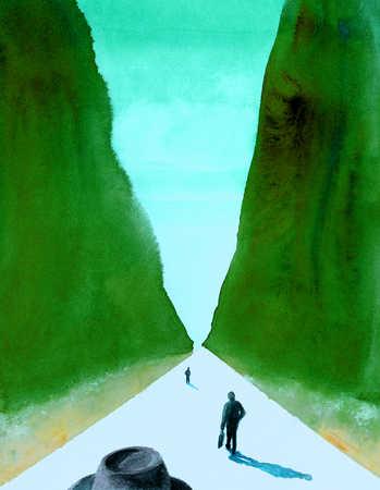 Businesspeople on road between hedges