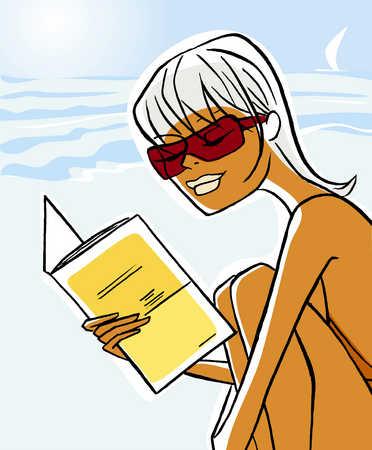 Woman reading at beach