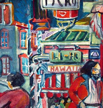 Watercolor of Asian street scene