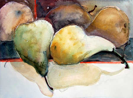 Watercolor of pears