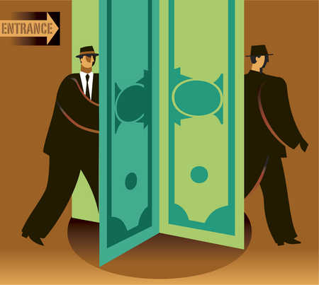 Businessmen walking through dollar sign revolving door