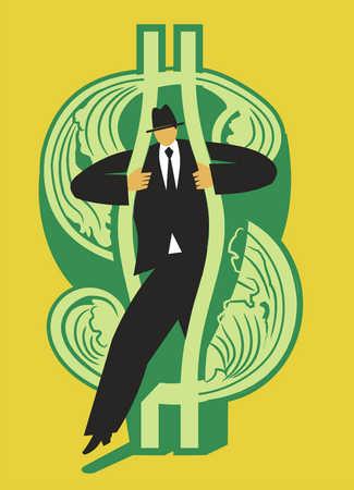 Businessman stepping through dollar sign