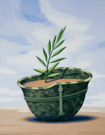 Plant growing in soldier's helmet
