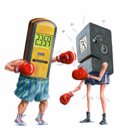 Digital and analog time clocks boxing