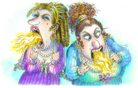 Illustration of two women breathing fire