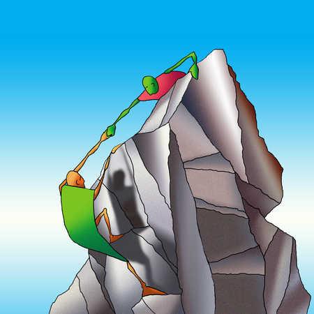 Man helping friend climb mountain