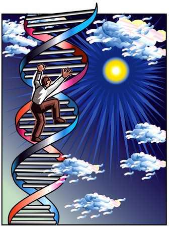 Man Climbing DNA Strand