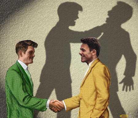 Men shaking hands with false front