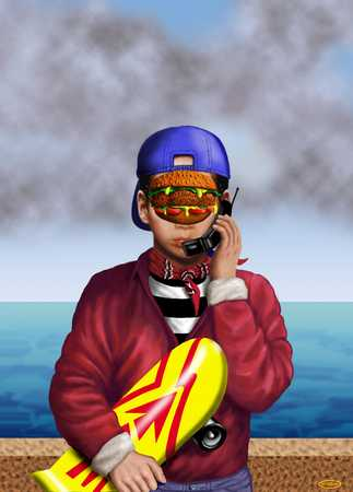 Boy with skateboard, hamburger in face