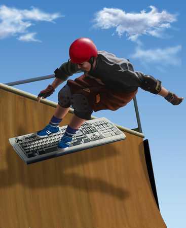 Youth skateboarding on keyboard