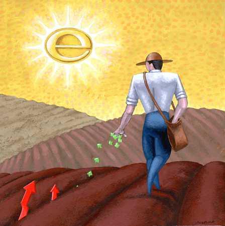 Stock Illustration - Farmer Planting Seeds/Start-Up