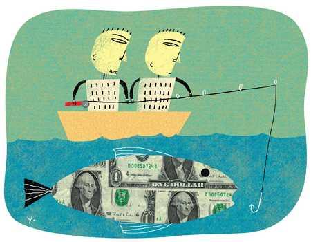 Stock illustration money fish for Fish for cash