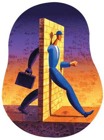 Man Walking Through Brick Wall