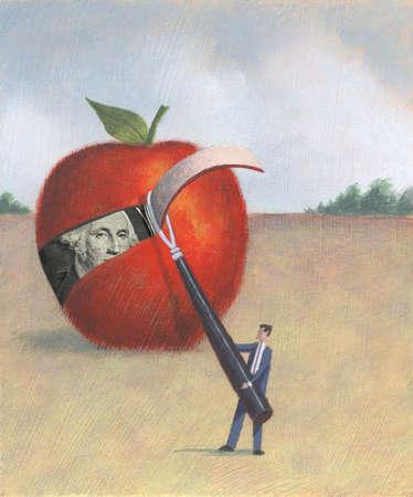 Man Peeling Large Apple