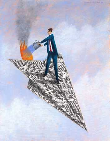 Man Extinguishing Fire On Paper Airplane
