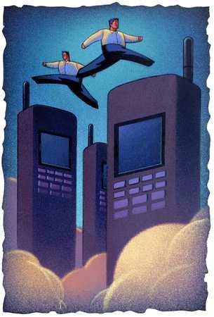 Cellular Phone/ Men Leaping