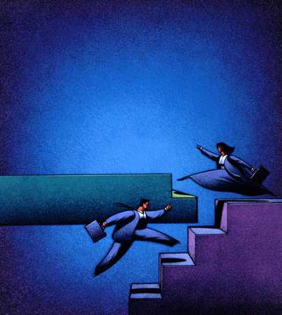 Businesspeople Ascending Stairs