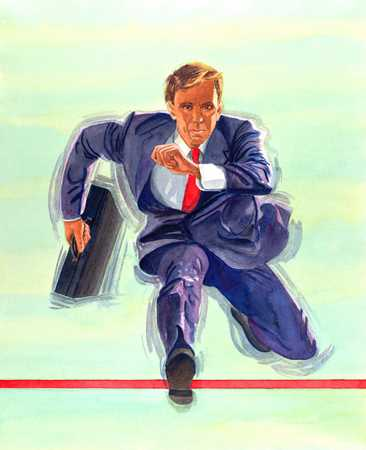 Businessman Hurdling Obstacle