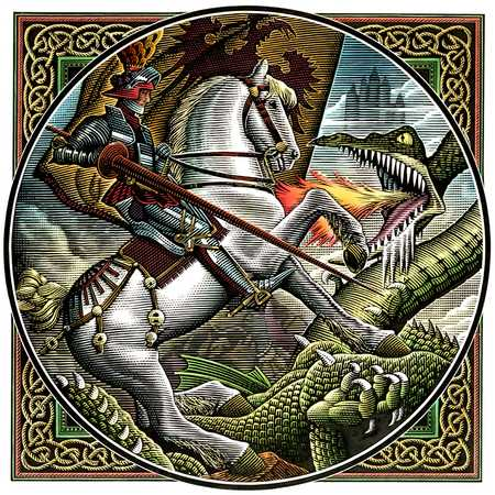 Knight On Horse Battling Dragon