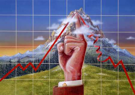 Finger Pointing Upward/Mountain/Graph Line