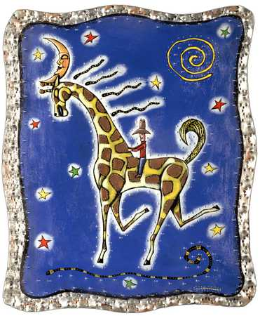 Man Riding Giraffe