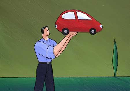 Man Holding Tiny Car