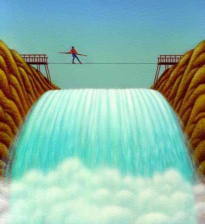 Figure Balancing Over Waterfall