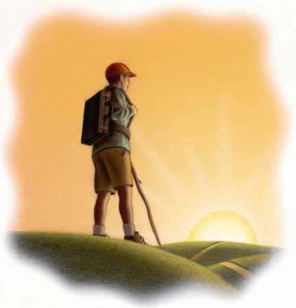 Hiker Looking To Horizon