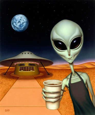 Alien With Hot Beverage