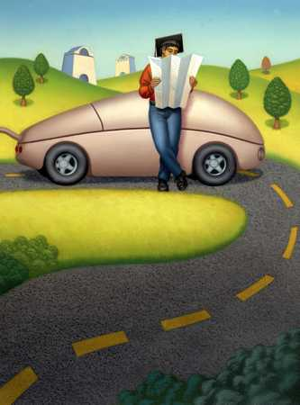 Man By Roadside Next To Car