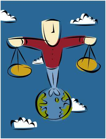 Figure On Globe/ Balance
